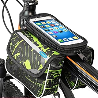 BOBILIFE Bike Front Frame Storage Bag, Universal Top Tube Bicycle Handlebar Twin Bag with Cell Phone Holder for Any Phones Like iPhone, Galaxy, Huawei