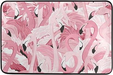 Mydaily Pink Flamingos Tropical Doormat 15.7 x 23.6 inch, Living Room Bedroom Kitchen Bathroom Decorative Lightweight Foam Pr