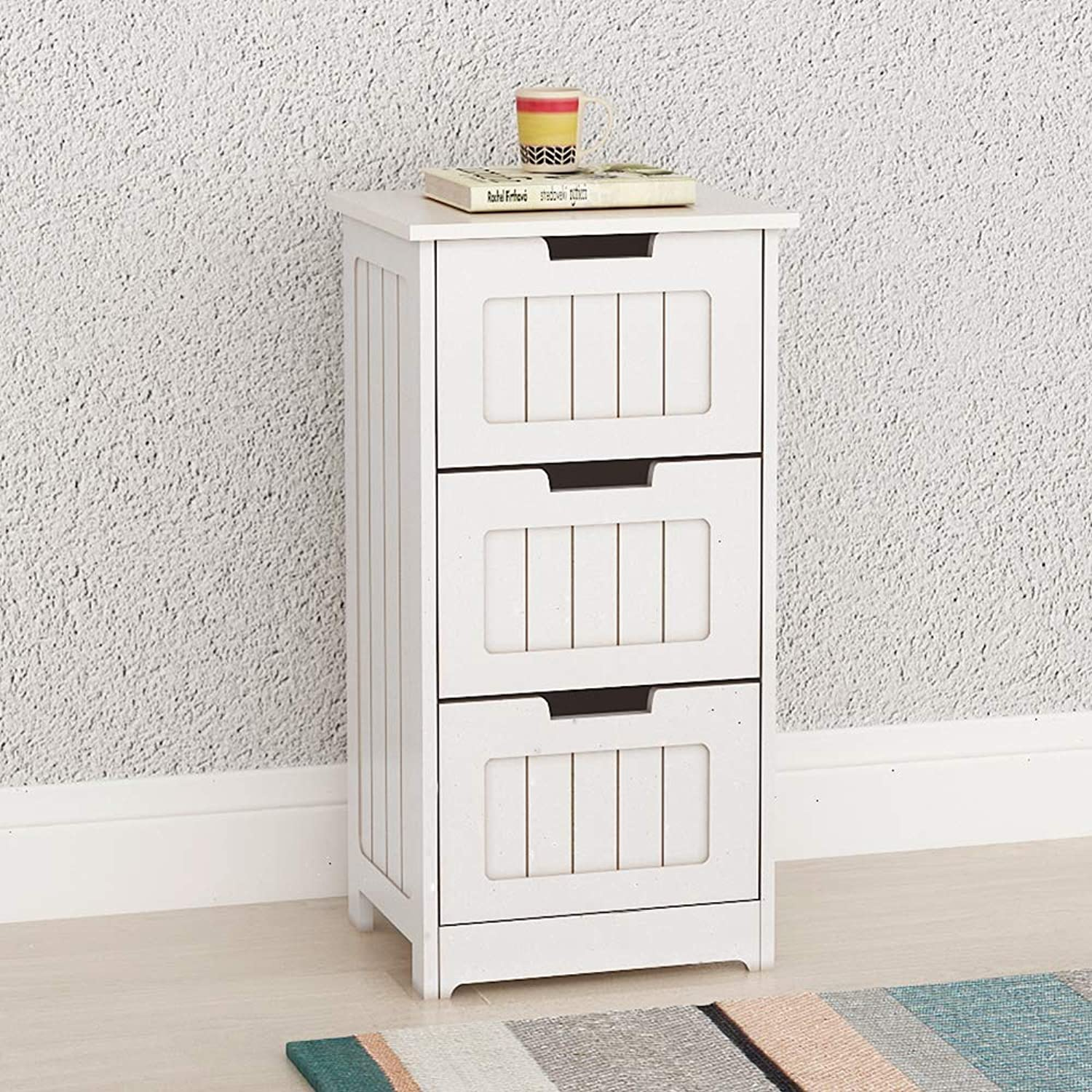 DlandHome Bathroom Storage Cabinet, Wooden Free Standing Cabinet Side Organizer Office Cabinet with 3 Drawers, RF6027