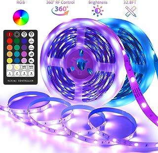 LED Strip Lights 32.8FT Color Changing RGB LED Light Strip with 28 Keys RF Remote Flexible LED Tape Lights 300 LEDs Strip Light 12V Power Supply for Bedroom TV Cabinet Kitchen Home Decor