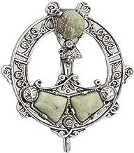 Biddy Murphy Jewelry Womens Celtic Brooch Connemara Marble Rhodium Plated Made in Ireland