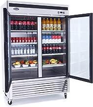 Commercial Glass Refrigerator,ATOSA MCF8707 Double 2-Door Beverage Showcase Glass Door Stainless Steel Reach in French Door Refrigerators for Restaurant Dispaly Beverages 47.1 cu.ft. 33℉—38℉