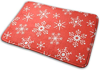 Winter Snowflakes Rudolf Carpet Non-Slip Welcome Front Doormat Entryway Carpet Washable Outdoor Indoor Mat Room Rug 15.7 X 23.6 inch
