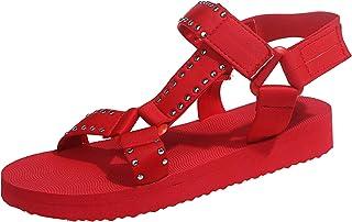 BRISEZZ Dames Sandaal, Casual Mode Platte Strandschoenen Klittenband Metalen Decoratieve Sandalen Dames Zomerplatforms Ade...
