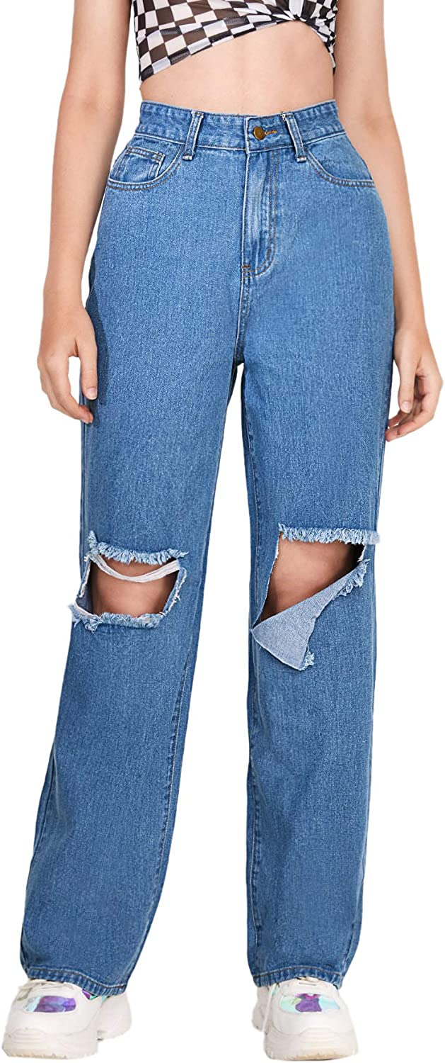 SOLY HUX Women's Casual Distressed Ripped Jeans Loose Wide Leg Denim Pants