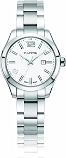 Philip Stein Women's Traveler Stainless Steel Swiss-Quartz Watch with Stainless-Steel Strap, Silver, 175.3 (Model: 91-CWS...