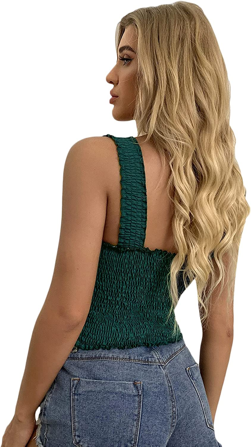 SheIn Women's Frill Smocked Sleeveless Crop Cami Tanks Shirred Strappy Top