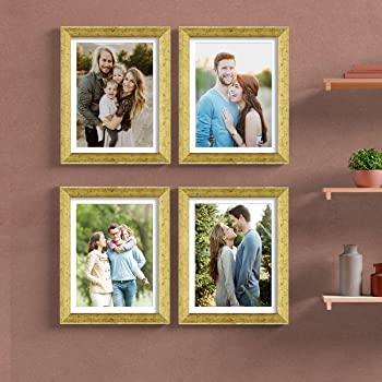 Painting Mantra & Art Street Set of 4 Individual Couple Photo Frame/Wall Hanging for Home Décor - Golden