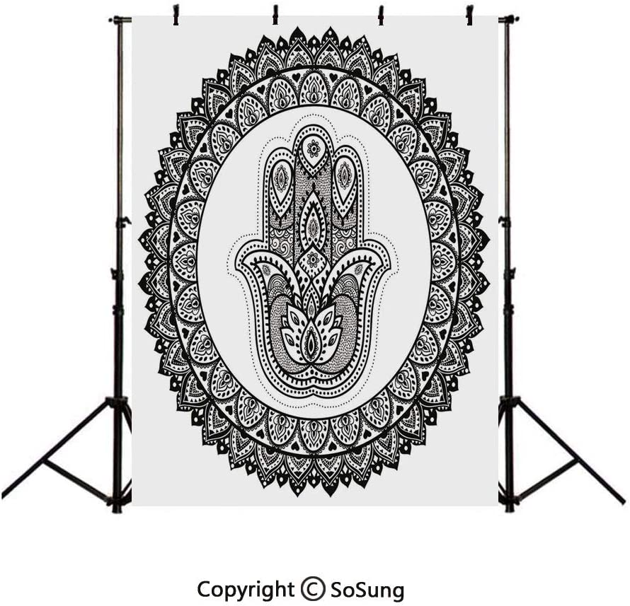 8x10 FT Backdrop Photographers,Ancient Oriental Henna Hand and Mehndi Arabesque Tattoo Work of Art Print Background for Baby Shower Birthday Wedding Bridal Shower Party Decoration Photo Studio