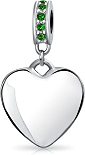 Personalized Heart Dangle Bead Charm Crystal Birth Month Sterling Silver Charm Bracelet In Many Colors Custom Engraved