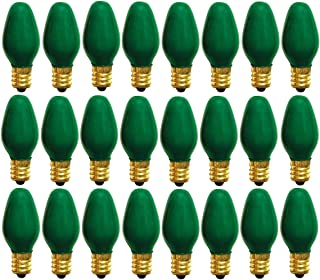 Philips Deco-Light C7 Green, Night Light Bulbs, String Light Christmas Replacement Bulbs, Candelabra Base, 7 Watt, 120 Volt, 24 Count