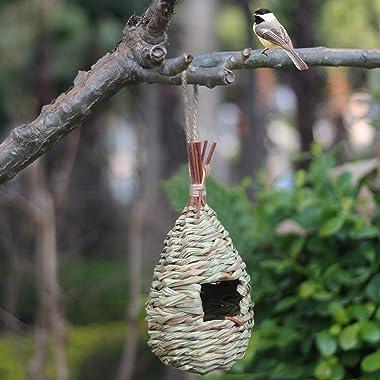Kimdio Bird House,Winter Bird House for Outside Hanging,Grass Handwoven Bird Nest,Hummingbird House,Natural Bird Hut Outdoor,