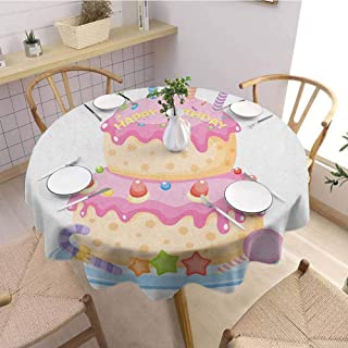 HouseLookHome Kids Birthday Beach Tablecloth Pastel Colored Birthday Party Cake with Candles and Candies Celebration Image Tablecloths for Parties 63 Inch Round Pale Pink