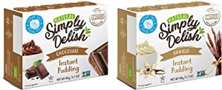Simply Delish Natural Instant Pudding Variety Pack, 1 Chocolate & 1 Vanilla - Sugar Free, Non GMO, Gluten Free, Fat Free, Lactose Free, Keto Friendly, 1.7 OZ (2 CT)