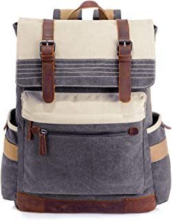 SUVOM Canvas Backpack, Vintage School Backpack, Stylish Travel Rucksack 15 inches Laptop Backpack for Women Men