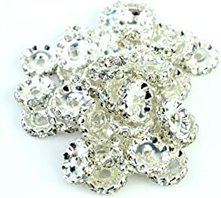 RUBYCA Top Quality 100pcs 4mm Wavy Rondelle Spacer Beads Silver Tone White Clear Czech Crystal