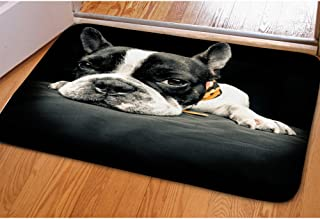 INSTANTARTS Black Boston Terrier Printed Soft Flannel Mats for Bedroom Bathroom Home Decoration