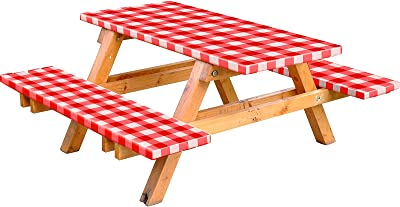 Mooncane 3 Pieces 72 Inches Vinyl Picnic Table and Bench Fitted Tablecloth Cover Picnic Table and Bench Fitted Tablecloth for Picnics Indoor and Outdoor Dining