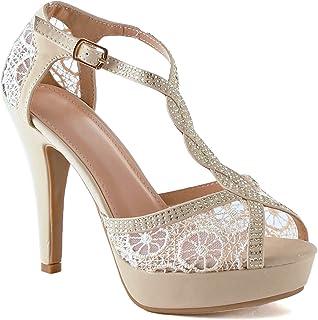Guilty Shoes Womens Open Toe Crochet Lace Stiletto Peep Toe Pump High Heel Sandals