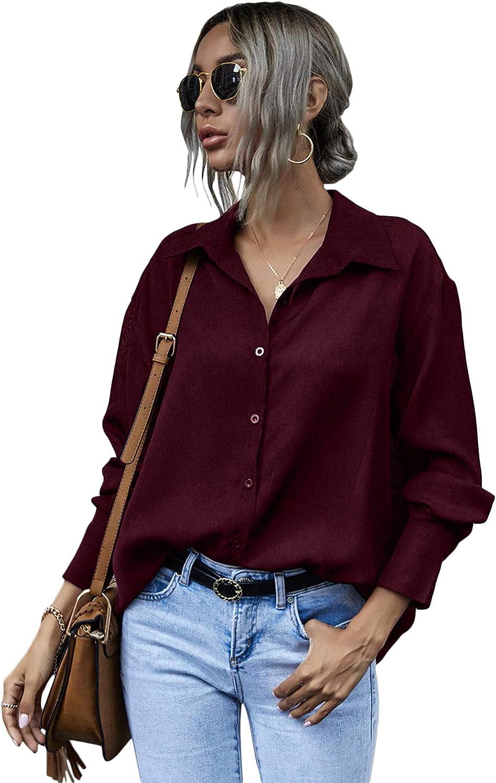 Milumia Women Elegant Button Down Long Sleeve Blouse Work Office Collared Shirt Top