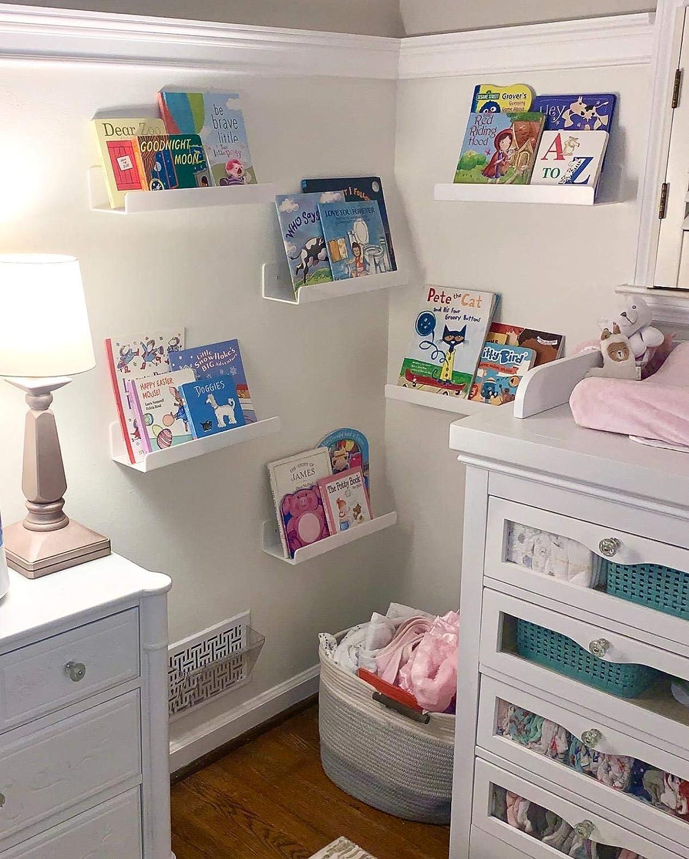 Cq acrylic Wall Mounted Nursery Kids Bookshelf,White Kids Floating Bookshelf for Kids Room,Modern Book Shelves,Set of 2 Floating U Shelves Storage Rack for Room//Kitchen//Office White 15 Inches