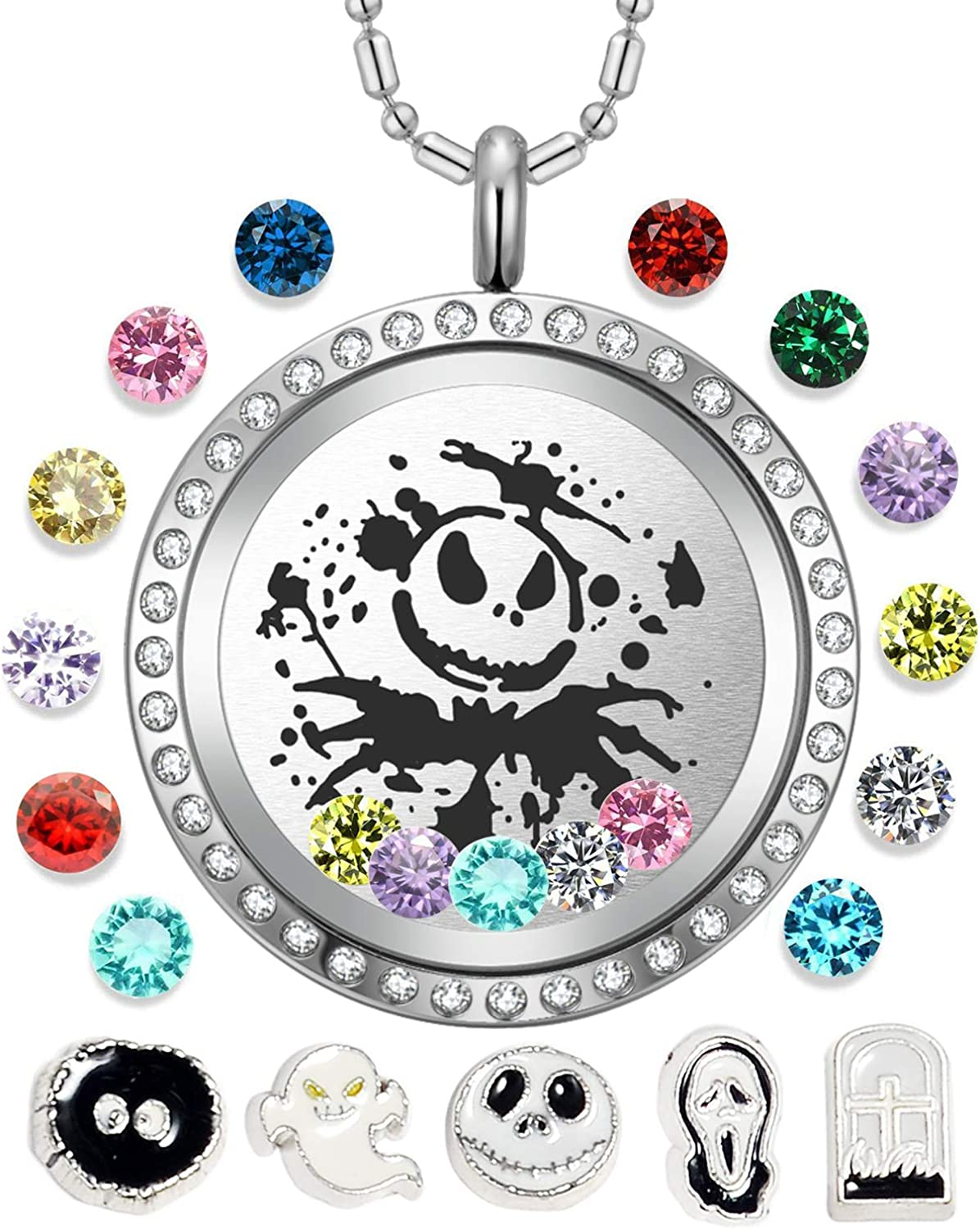 AZNECK 30mm Jack Skull Nightmare Before Christmas Floating Charms Necklaces Living Memory Halloween Locket Pendant Gifts for Women Girls Men Boys Birthstone Jewelry