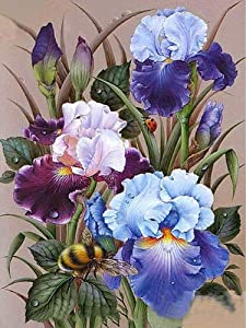 5D DIY Diamond Painting Kits for Adult Kids, Iris Flower Round Full Drill Diamond Painting by Numbers Rhinestone Cross Stitch Embroidery Arts for Home Room Wall Decor