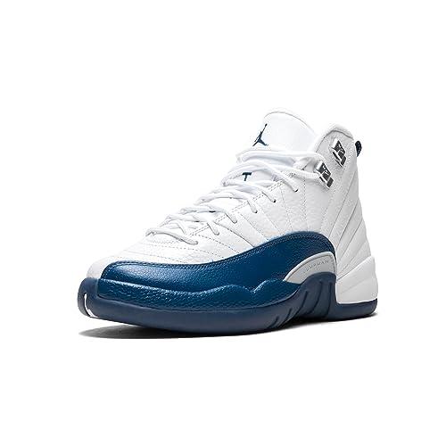 finest selection f7759 8d6fd Jordan 12 Retro Bg Big Kids Style, White French Blue Metallic Silver,