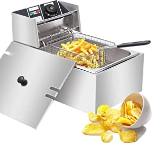 Deep Fryer with Basket, 2500W Electric Deep Fryers 0.6mm Thickened Stainless Steel Countertop Oil Fryer, 6.3QT/6L Large Capacity for Commercial Home Use with Temperature Limiter