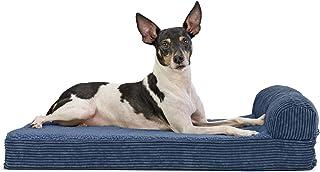 FurHaven Pet Dog Bed | Memory Foam Corduroy Chaise Faux Fleece & Corduroy Lounge Pet Bed for Dogs & Cats, Navy, Medium