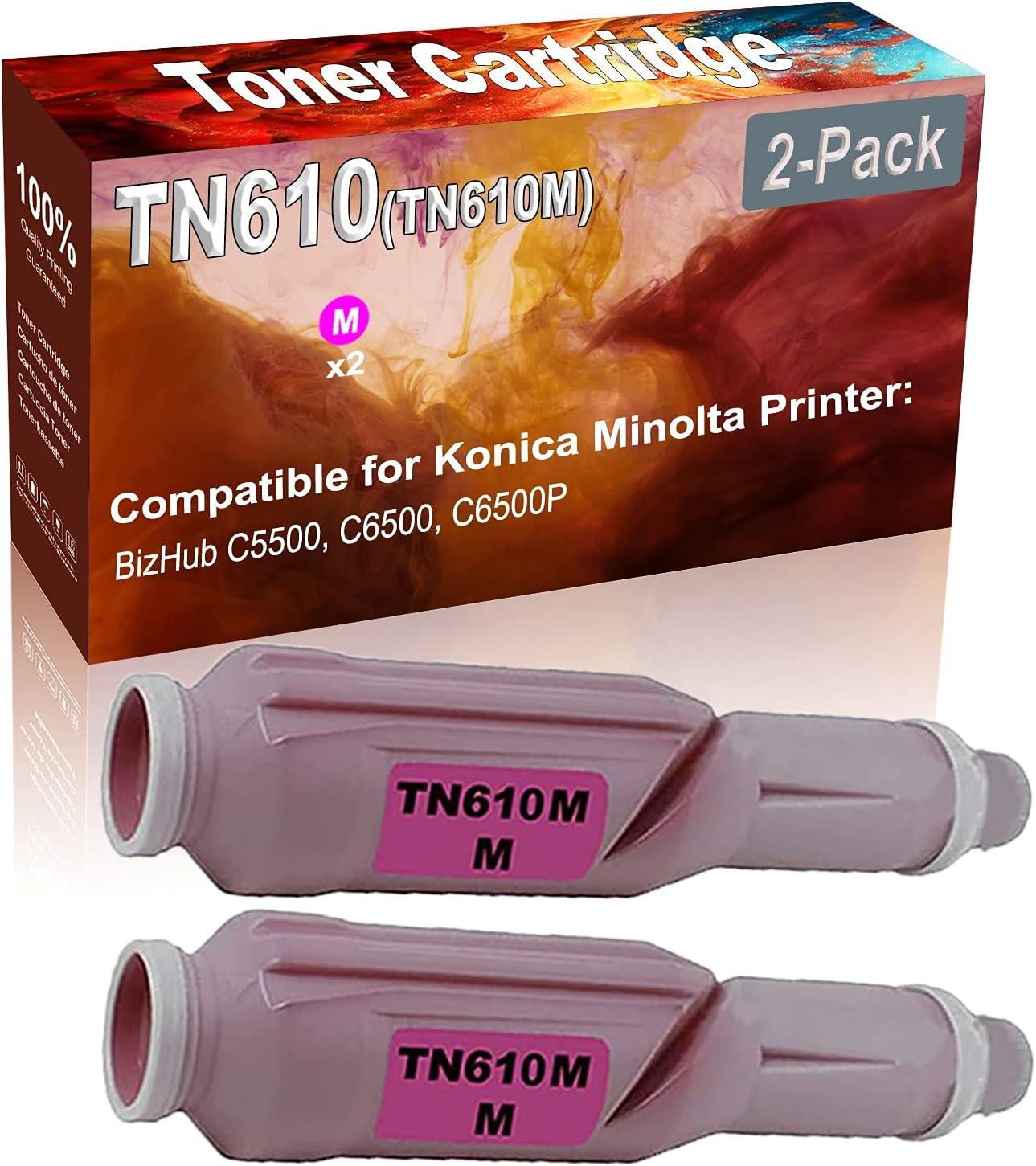 2-Pack (Magenta) Compatible High Yield TN610 (TN610M) Printer Toner Cartridge use for Konica Minolta BizHub C5500 C6500 C6500P Printers