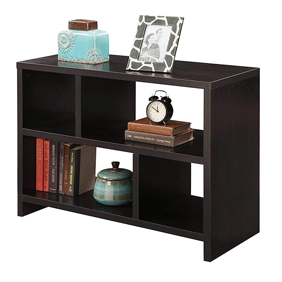 Swag Pads Modern 2-Shelf Bookcase Console Table in Espresso Wood Finish