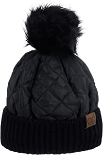 Soft Quilted Puffer Detachable Faux Fur Pom Inner Lined Cuff Beanie Hat