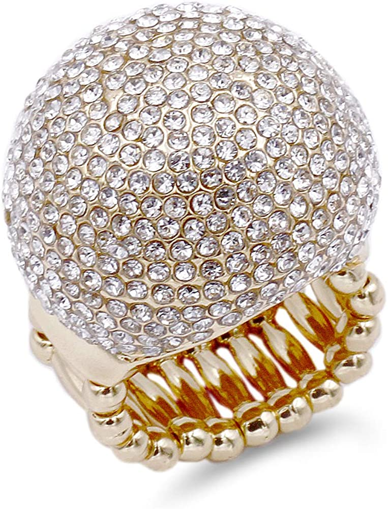 Lavencious Snowball Rhinestone Cocktail Luxury Stretch Superior Ring Party