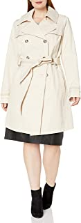 Women's Plus-Size Double-Breasted Trench Coat with Belt