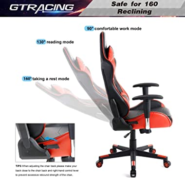 GTRACING Gaming Chair Racing Office Computer Game Chair Ergonomic Backrest and Seat Height Adjustment Recliner Swivel Rocker