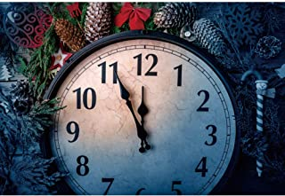 Haoyiyi 10x6.5ft Nightmare Before Christmas Background Red Berry Pine Tree Branch Clock Backdrop Photography Girl Boy Xmas Eve Winter Festive Party Photo Shoot Photobooth Photographers