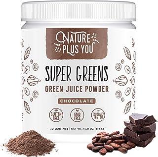 Sponsored Ad - Chocolate Super Greens Organic Blend: Includes Spirulina, Alfalfa, Spinach, Acai, Probiotics and Digestive ...