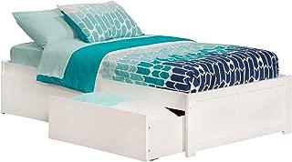 Atlantic Furniture 2 Concord Platform 2 Urban Bed Drawers, Twin XL, White