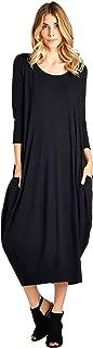 Solid 3/4 Sleeve Bubble Hem Pocket Midi Dress (S-3X) - Made in USA