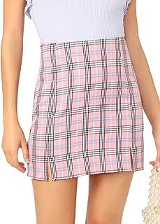 Women's Basic High Waist Bodycon Mini Plaid Uniform Skirt
