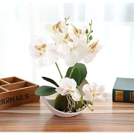 Alicemall Fleur Artificiel Phalaenopsis Orchid/ée Plastique en Pot C/éramique Bonsa/ï pour D/écoration de la Maison Bureau Chambre Balcon Salon Jardin 15x15x50 cm Rose