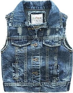 WESIZAR Denim Vest Kids Cotton Fall Sleeveless Denim Jacket Outwear 2-6 Years