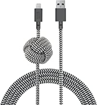 Native Union Night Cable - 10ft Ultra-Strong Reinforced [Apple MFi Certified] Durable Lightning to USB Charging Cable with Weighted Knot for iPhone/iPad (Zebra)