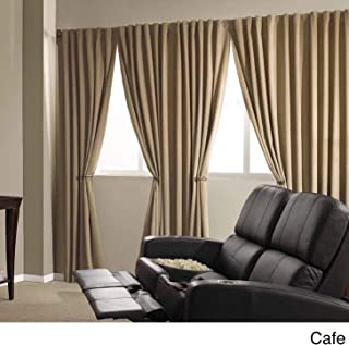 Absolute Zero Velvet Blackout Home Theater Curtain Panel Cafe 50X84 84 Inches
