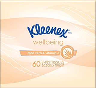 KLEENEX Facial Special Care Facial Tissues Aloe Vera and Vitamin E Cube, 0.15kg, Pack of 60