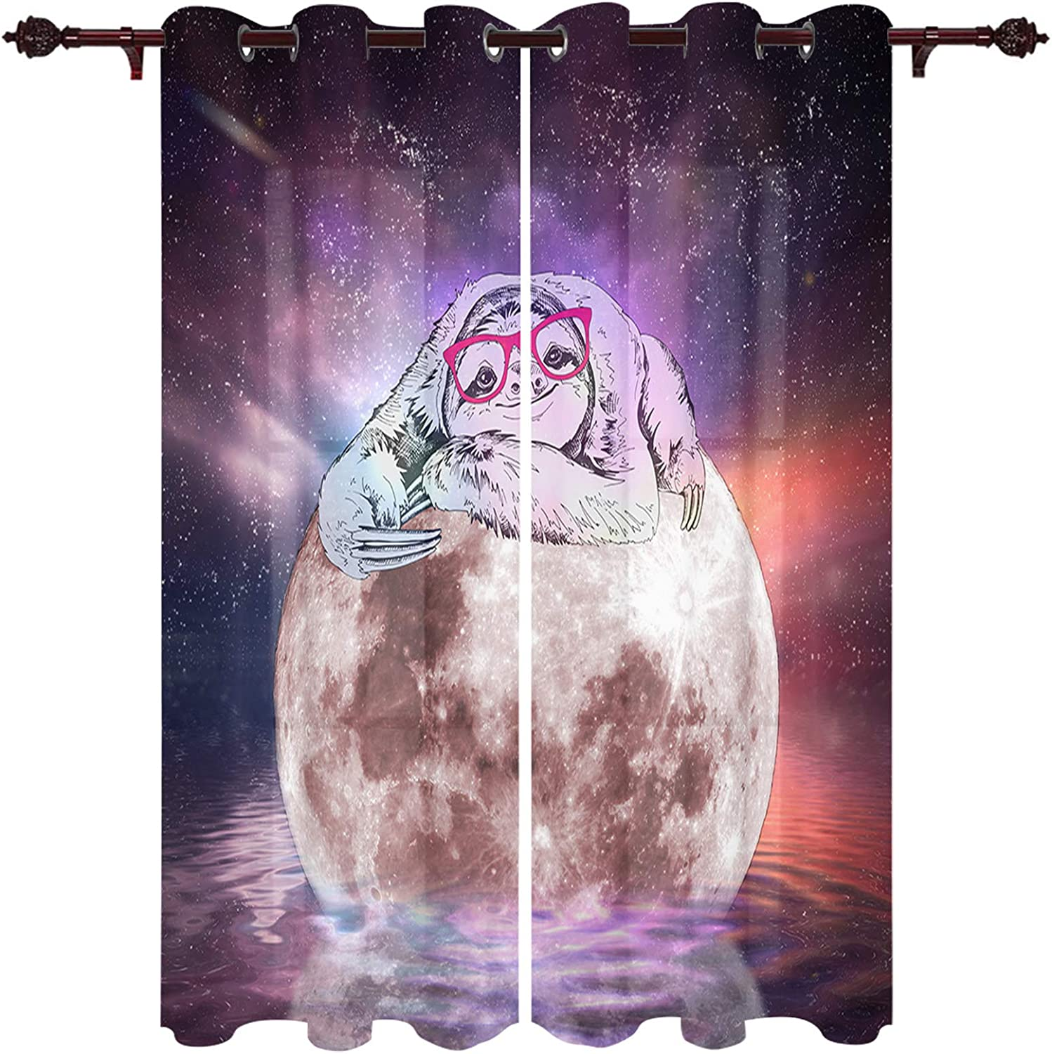Quantity limited Window Treatment Sheer Curtains Animal Sloth Color Moon W Limited price Starry