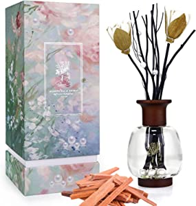 Reed Diffuser Oil Refill, 6.7oz Fragrances Reed Diffuser Set for Home Aromatherapy Relaxing Diffuser 4 Months Lasting Time Sandalwood Diffuser Reeds for Bathroom Office Women Birthday Gift