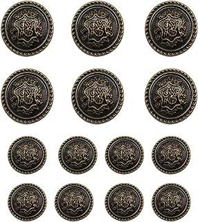 14 Pieces Antique Brass Metal Blazer Button Set 15MM 21MM for Blazers, Suits, Sport Coats, Uniform, Jackets