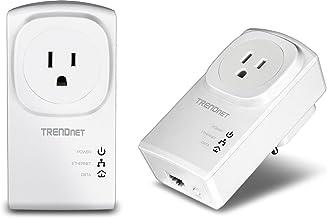 Best TRENDnet Powerline 500 AV Nano Adapter Kit with Built-In Outlet, With Power Outlet Pass-Through, Includes 2 x TPL-407E Adapters, TPL-407E2K, White, AV 500 Pass-Through Review